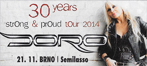DORO - 30 years - Strong & Proud tour 2014 Brno CZ